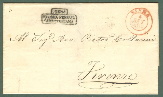 Prefilatelia. TOSCANA. SIENA STRADA FERRATA CENT. TOSCANA. Bollo nero in cartella su sovracoperta di lettera da Siena a Firenze del 4 Settembre 1855.