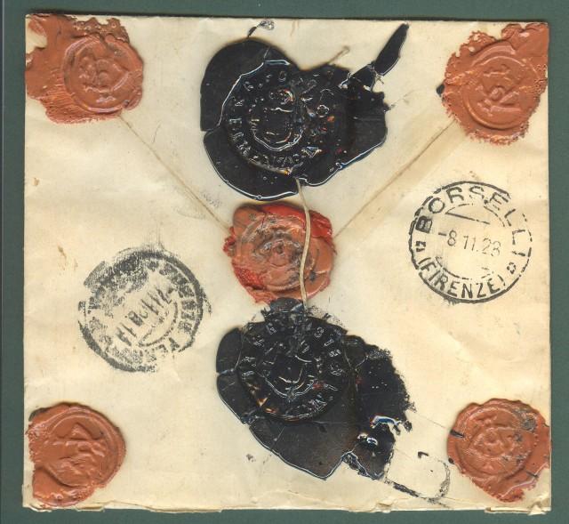 Storia postale. REGNO ITALIA. Assicurata per lire cento del 7 Novembre 1928 da Firenze.