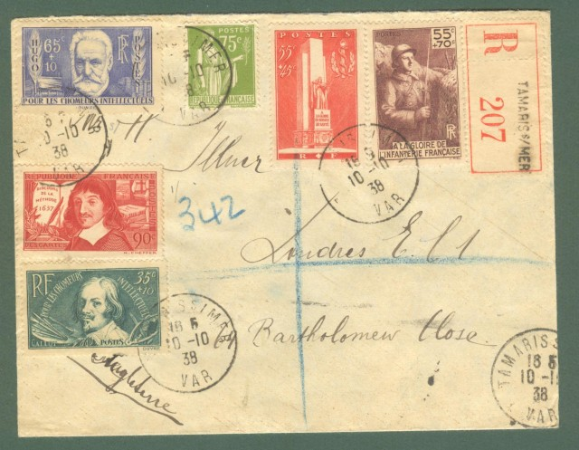 Storia postale estero. FRANCIA, FRANCE. Registered letter 1938 for London.