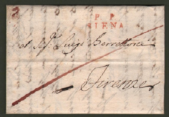 Prefilatelica. Toscana. P.P. SIENA in rosso su lettera del 14 maggio 1824 da Siena a Firenze.